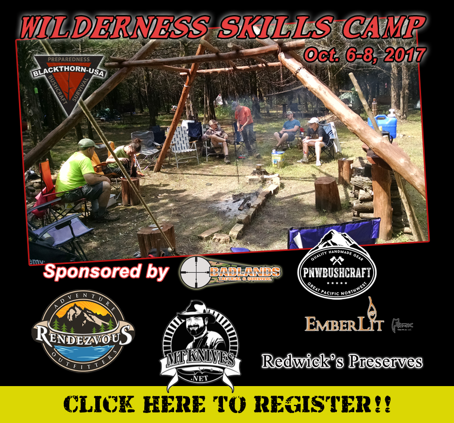 Wilderness Skills Camp, Badlands Tactical & Survival, Rendezvous Adventure Outfitters, PNW Bushcraft, Redwick's Preserves, MT Knives, Emberlit